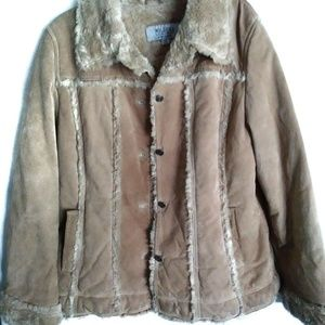 Wilson's Leather Women's XL Suede Coat with Fur